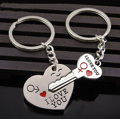 Romantic Keychain His And Her I LOVE YOU Couple Keyring Keyfob Lover Gift
