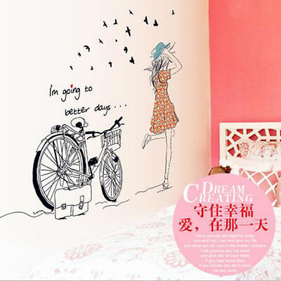 Bicycle Girl Removable Vinyl Wall Sticker Decal Mural Art DIY Home Decor hot