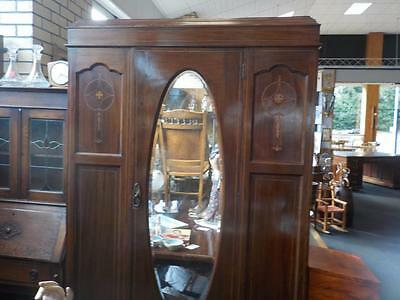 Antique Inlay Mahogany Single Door Wardrobe With Bevelled Mirror & Bottom Draw