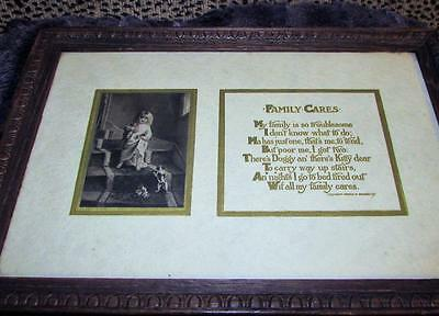 Antique 1890's Print * Family Cares* Child With Dog & Cat & Poem