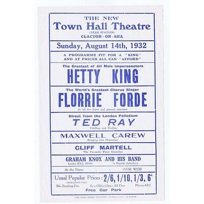 CLACTON ON SEA Town Hall Theatre Playbill 1932; Hetty King, Florrie Forde