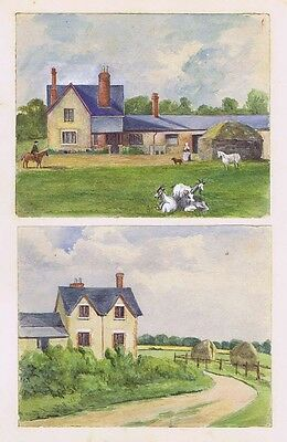 2x Edwardian Water Colour Paintings Wiltshire Area c1910