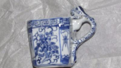 Rare Chinese Set 4 Blue White Porcelain Cups With Applied Animal Handles