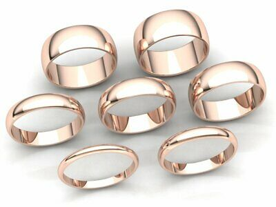Domed Plain Band Ring Mens Womens 2mm 3mm 4mm 5mm 6mm 7mm 8mm Solid 14k Gold