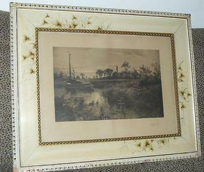 Large Amazing Antique Hand Painted Frame England Norfolk River Picture Amazing