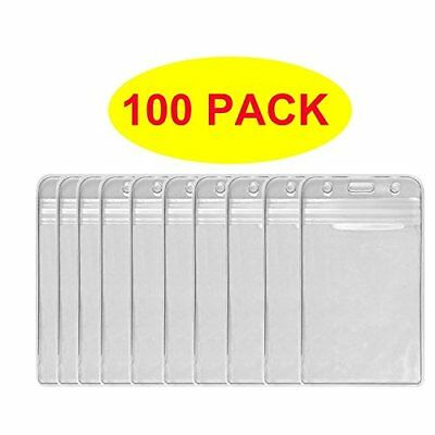 HOSL 100 PCS Waterproof Clear Plastic Vertical Name Tag Badge ID Card Holders