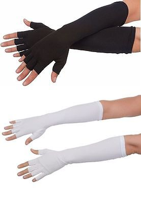 "16"" Long Fingerless Cotton Stretch Gloves Formal Theatrical Costume Accessory"