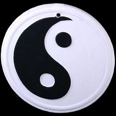 WHITE YING YANG Wall hanging stone plaque garden ornament hippy wicca new age