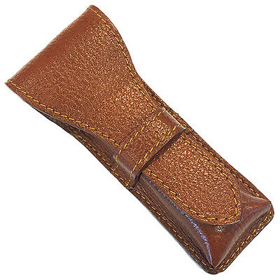Brown Parker Genuine Leather Double Edge Safety Razor Protective Travel Case
