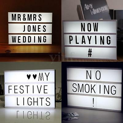 A4 Cinematic Light Box Letter Symbol Cinema Sign Wedding Party Shop Xmas Decor