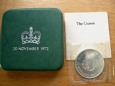 British - 1972 Silver Proof Crown - Royal Wedding Anniversary - Boxed with cert