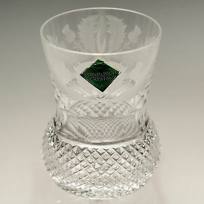 """Edinburgh Crystal Etched Thistle height - 4""""  8fl oz Whisky Glass Paper Label"""