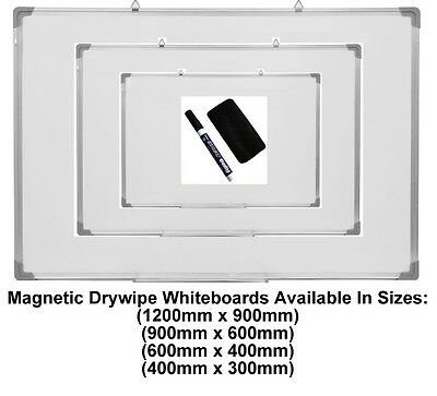 Magnetic Dry Wipe Whiteboard White Notice Board Pen Eraser & Tray Office School