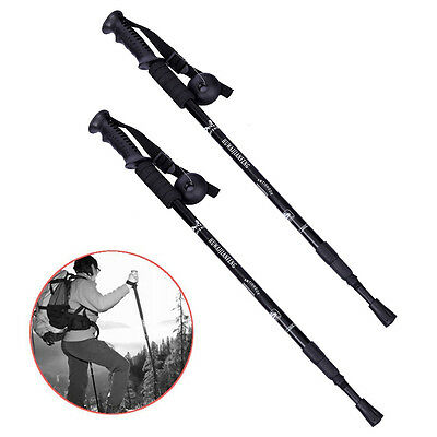 Pair 2 Trekking Walking Hiking Sticks Poles Alpenstock Anti-Shock 65-135cm New