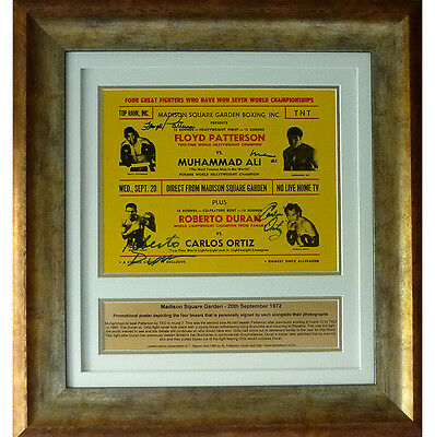 1972 MSG Poster signed Muhammad Ali, Floyd Patterson, Roberto Duran and Ortiz