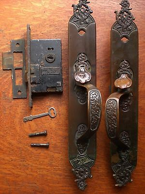 Antique Fancy Bronze Entry Set - Large Doorplates, Lock & Key - R&E Lock c1880 • CAD $409.50