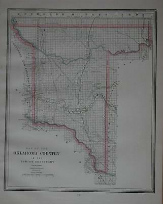 1889 Oklahoma Country in Indian Territory Antique Color Map ... Cattle Trails