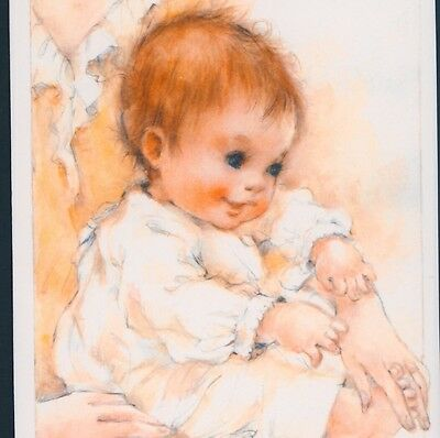 Mint..! Birth Announcement...mother Cuddles Baby,hallmark,vintage Greeting Card