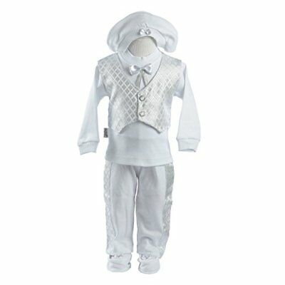 Leylek Baby Boy Christening Baptism Infant Cotton Outfit with Vest 5 Piece Set