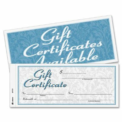 Adams Gift Certificate Book, Carbonless, Single Paper, 3.4 x 8 Inches, White,