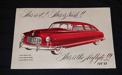1949 Nash Airflyte Brochure Giant Foldout Post Card