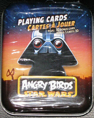 Last One~Star Wars Angry Birds Darth Vader Playing Cards In Sealed Metal Tin~New