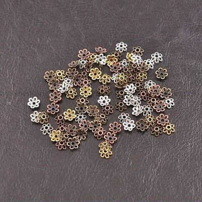 100Pcs Tibetan Silver/Gold Flower Spacer Bead Caps Jewelry Findings 6mm E3012