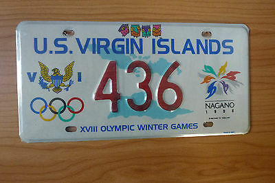 Nagano 1998 U.S. Virgin Islands Olympic License Plate (NEW)