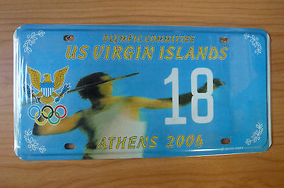 Athens 2004 U.S. Virgin Islands Olympic Committee  License Plate (NEW)