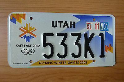 Salt Lake City 2002 Winter Olympic Games License Plate (Used)