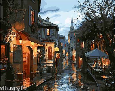 """16X20"""" DIY Paint By Number Kit Oil Painting On Canvas Old Town Scenery SPA575"""
