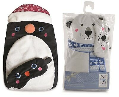 Christmas Plush Hot Water Bottle with Matching Eye Mask ~ Christmas Gift Set