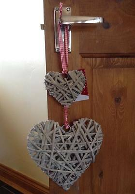 Shabby Chic/French Country/Farmhouse Distressed Wicker 2 x Hanging Hearts 20cm
