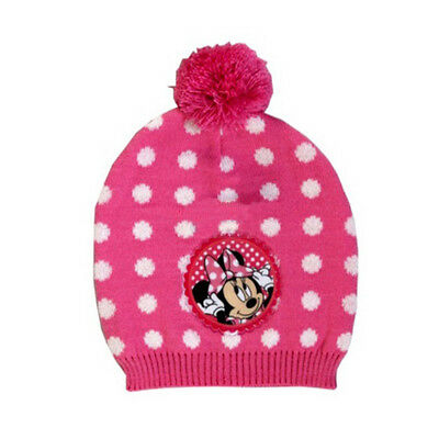 Disney Minnie Mouse Beanie Hat Warm Knitted Winter Thermal Pom Girls Pink New