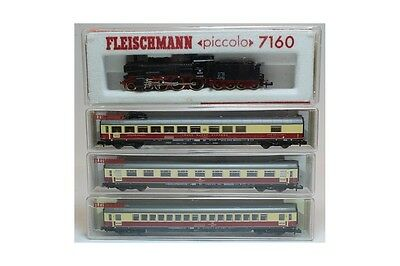 N 1:160 4x Fleischmann 7160 8160 8162 8163 Steam locomotive DB + passenger cars