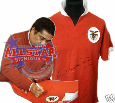 Eusebio Signed Benfica Shirt See Proof Portugal Football Soccer