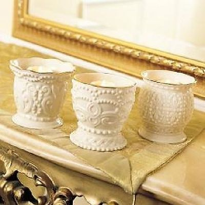 Lenox Ivory Fine China Classic Beaded Votive / Tea Light Candle Holder