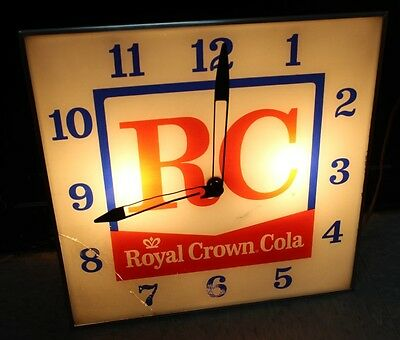 """Vintage Royal Crown Cola RC 15"""" Advertising Lighted Wall Clock"""