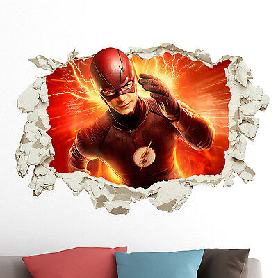 The Flash in Wall Crack Kids Boy Bedroom Decal Art Sticker Gift Superheroes