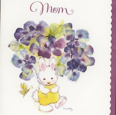 Mary Hamilton...bunny Gives Thank You Pansy Bouquet To Mom,sparkle,greeting Card