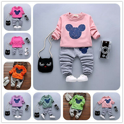 2pcs/set Kids Baby Girls Long Sleeve tops + Pants autumn Clothes Outfits Suits