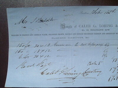 1852 French,German Window Glass Dealer/C.G.Loring/Boston,Mass.,signed document