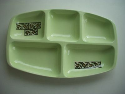 Vintage Carlton Ware 5 Section Hand Painted Hors D'oeuvres Dish ~Pale Green