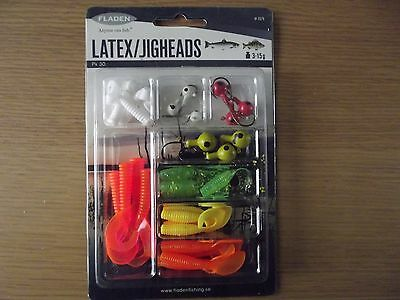 30 FLADEN LATEX JIG HEADS Set. 3gr - 15gr.  IDEAL FOR PERCH SALMON OR TROUT