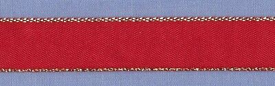 15mm Red Gold Edged Ribbon