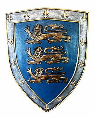 "Large Medieval Knight Royal Arms Of England Three Lions Shield Wall Plaque 18""H"