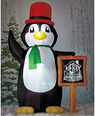 6FT Lighted Holiday Yard Inflatable Penguin Merry Christmas Decoration Decor