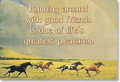 "LEANIN TREE ""Running Around with Good Friends"" Horse Fridge Magnet #25109"