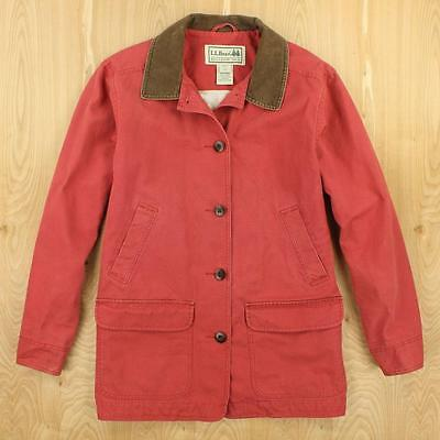 LL BEAN womens ladies barn chore coat jacket LARGE salmon red faded