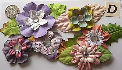 Scrapbooking No 200 Pack D - 6 Prima Paper Flowers & Leaves Sprays